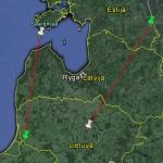 Lietuvoje ir Estijoje žieduotų jūrinių erelių žiedavimo vietos (žalios žymės) ir jų aptikimo vietos (baltos žymės) sujungtos linijomis.