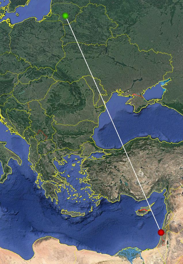 Linija sujungtos Izraelyje žieduotos ir Lietuvoje aptiktos upinės žuvėdros žiedavimo (raudona žymė) ir aptikimo (žalia žymė) vietos.