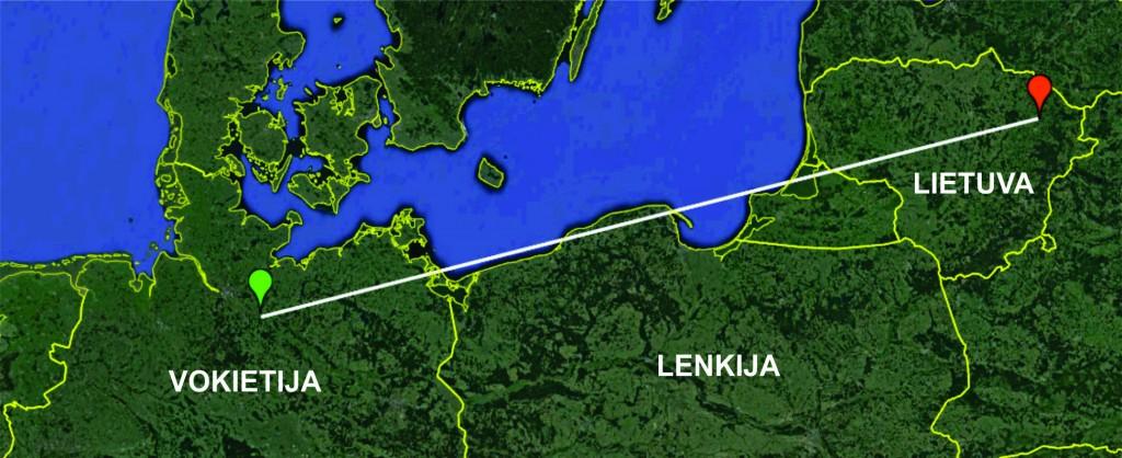 Linija sujungtos Lietuvoje žieduoto didžiojo baltojo garnio žiedavimo (raudona žymė) ir jo aptikimo (žalia žymė) vietos