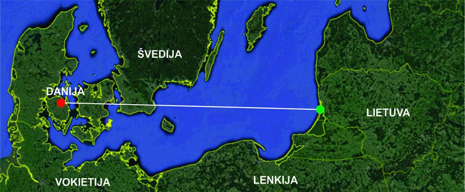 Linija sujungtos Danijoje žieduotos margasnapės žuvėdros žiedavimo (raudona žymė) ir aptikimo Lietuvoje (žalia žymė) vietos.